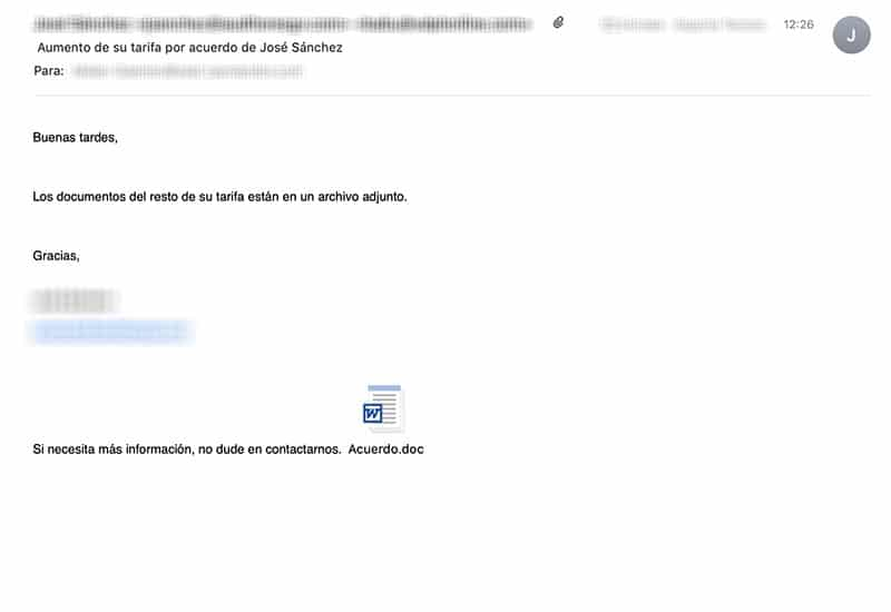Ejemplo Email Malware