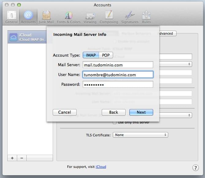configurar cliente mail de mac